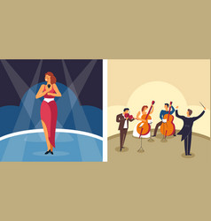 music singer and orchestra female artist and vector image