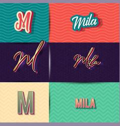 Name mila in various retro graphic design vector