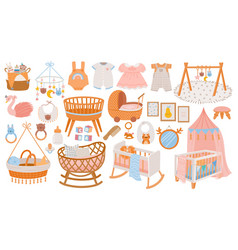 newborn accessories nursery room interior vector image