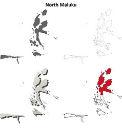 North Maluku blank outline map set vector