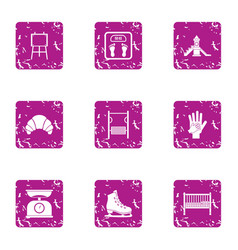 Observation weight icons set grunge style vector