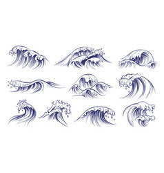 ocean hand drawn waves sketch style sea vector image