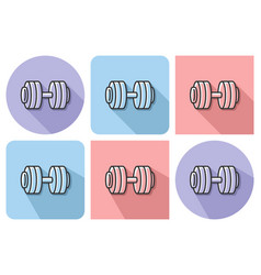 outlined icon of dumbbell with parallel and not vector image