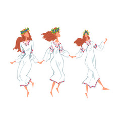 Pagan ritual dance three slavic young women vector