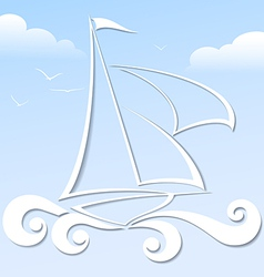 Paper boat in the blue ocean format vector image
