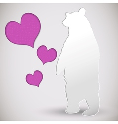 paper cut greeting card with bear and heart vector image