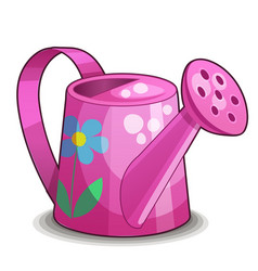 Pink watering can isolated on white background vector