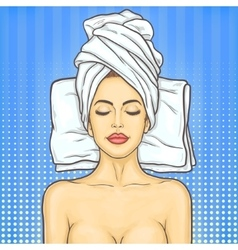 Pop art beautiful woman in spa environment vector image