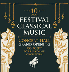 Poster for classical music festival with angels vector