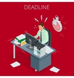 Project deadline concept overworked man man vector