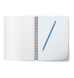 Realistic open horozontal spiral notepad vector