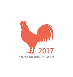 red fire rooster symbol 2017 vector image