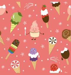 seamless pattern with ice cream cone vector image