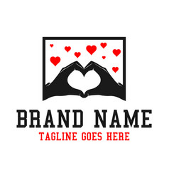 second hand logo becomes love vector image