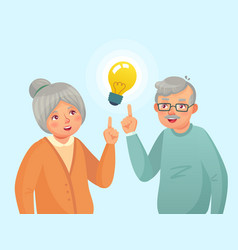 Seniors idea old people couple have idea elderly vector