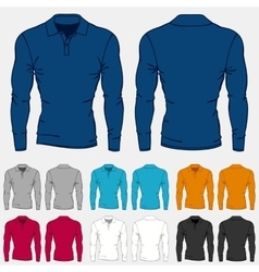 Set of colored long sleeve polo-shirts templates vector