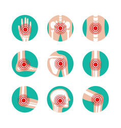 set of human joints with pain rings vector image