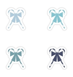 Set of paper stickers on white background candy vector