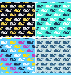 set whale fish seamless patterns vector image