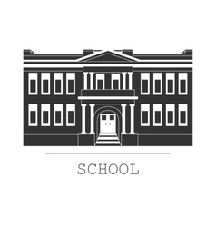 Silhouette school building in a flat vector