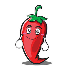 Smile red chili character cartoon vector