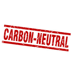 square grunge red carbon-neutral stamp vector image