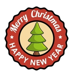 Stamp merry christmas happy new year tree vector