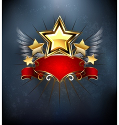 Stars with Red Ribbon vector image