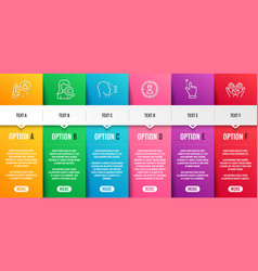 Startup collagen skin and headhunting icons set vector