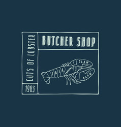 Stock lobster cuts diagram vector