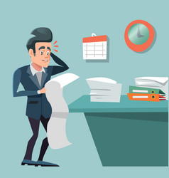 Stressed busy businessman with long to do list vector