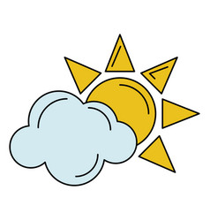 sun cloud weather symbol vector image
