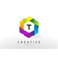 t letter logo corporate hexagon design vector image
