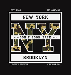 t-shirt with ny slogan camouflage vector image