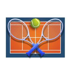 tennis club racket cross ball on orange court vector image