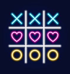 Tic tac toe game linear outline icon neon style vector