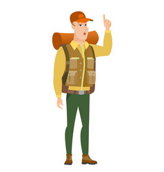 traveler with open mouth pointing finger up vector image