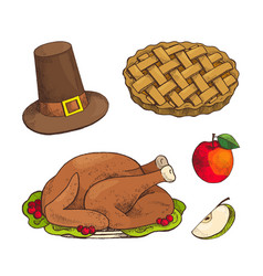 turkey dish and baked pie with apple set vector image