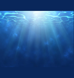 underwater background with sun rays water surface vector image