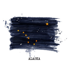 Watercolor painting flag of alaska vector