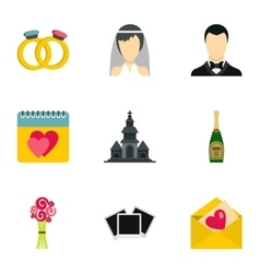 Wedding celebration icons set flat style vector image