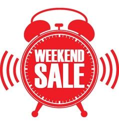 Weekend sale red alarm clock vector image