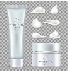 White pearl day cream for skin in tube and box vector