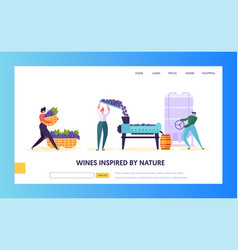 wine production landing page tap of winemaking vector image