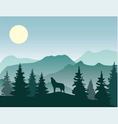 Wolf nature landscape vector