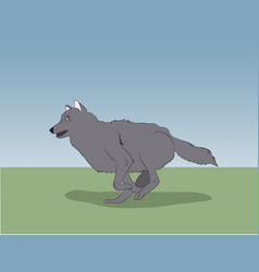 Wolf on nature background vector