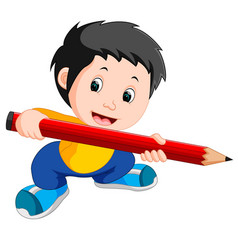Young boy holding a big pencil vector