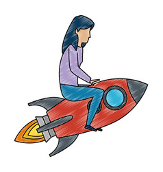 young woman working with rocket vector image
