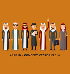 group of arab man family stages of development vector image