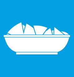 Nachos in bowl icon white vector
